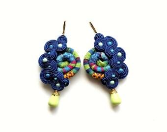 Masai - Cobalt  - Earrings - Soutache Jewelry - Hand Embroidered