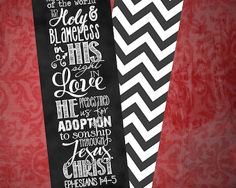 Set of 5 Ephesians 1:4-5 bookmarks, chalkboard style