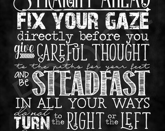 Scripture Art - Proverbs 4:25-27 ~ Chalkboard Style