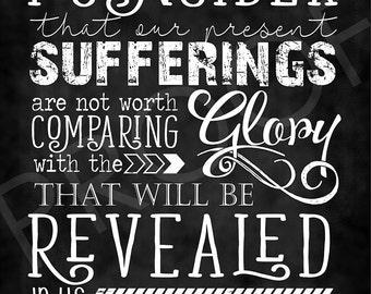Scripture Art - Romans 8:18 ~ Chalkboard Style