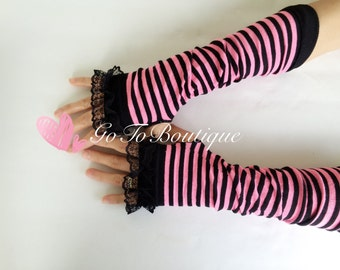 Pink Stripe Arm Warmers-Fingerless Gloves-Lace Gloves-Womens Arm Warmers.