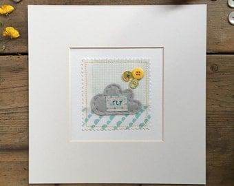 Wall art - Embroidered wall art 'FLY' - cute cloud picture - button art - nursery wall art - patchwork picture - new baby gift