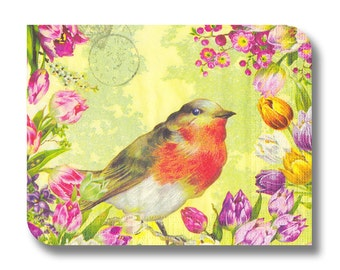 Bird paper napkin for decoupage, mixed media, collage, scrapbooking x 1. Red-breasted Robin. No 1233