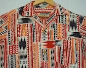 1950s Hawaiian Shirt / M / Atomic / Loop Collar / Rockabilly / Tapa / Tiki / Vintage 1950s Mens Clothing / 1950s Shirt / Camp Shirt