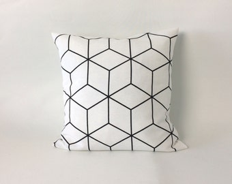 Black and white abstract pillow cover – Throw pillow cover – Cushion cover - 16x16 inch – abstract cushion