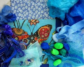 Textile Art and Craft Sample Kit - Fibre Art - Art and Craft Fiber Sample Kit - Blue Lagoon