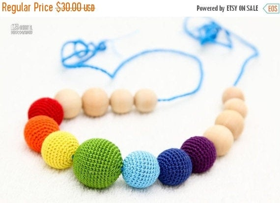 SALE 25% off Teething Necklace Rainbow  Waldorf  toy crochet sling necklace.Organic Breastfeeding mom necklace