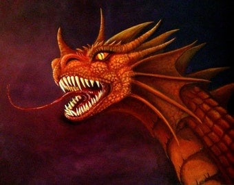 "Dragon Art - Fantasy - Red Dragon - Giclee Canvas Print - ""Zzorok Roars"""