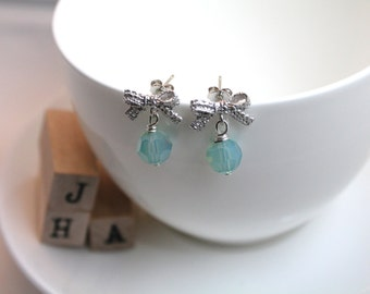 Silver lace bow stud earrings with Swarovski crystal