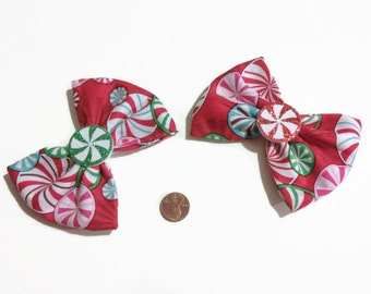 Peppermint Bows, Peppermint swirls, Candy bows, Candyland bows, Bows for her, stocking stuffers, christmas gifts, glittery bows, fabric bows
