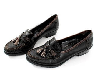 Vintage Black Leather Italian Shoes Mocassins Size 37 EU