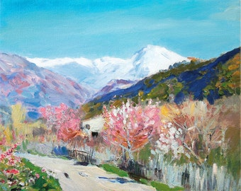 Colorful Fine Art Mountains Landscape Painting Hand Painted & Stretched Home Decor 8x10