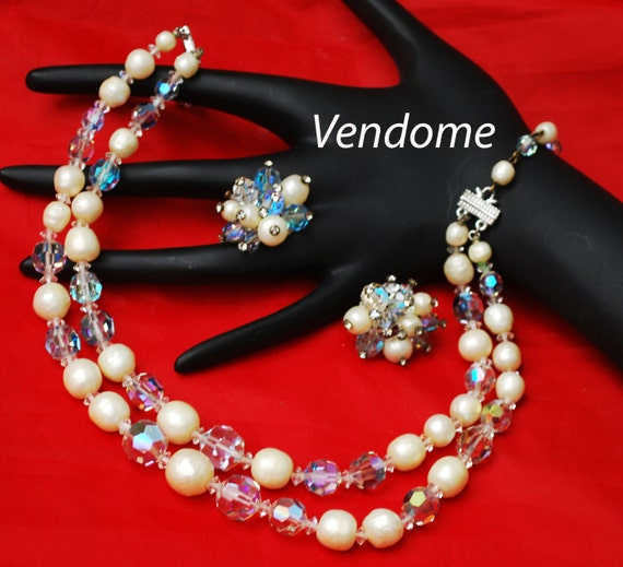 Vendome Necklace  and Earring set with Baroque Pearl and Crystal Beads  - wedding bride  - double strand bead cluster clip on earrings