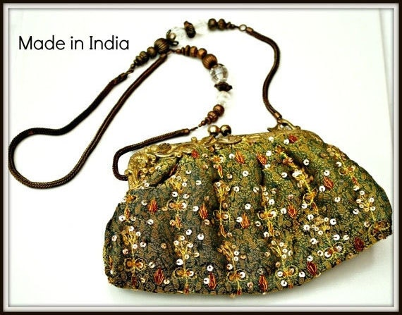 Olive Green Viscose India Beaded Brass Clutch purse Bag with mirror