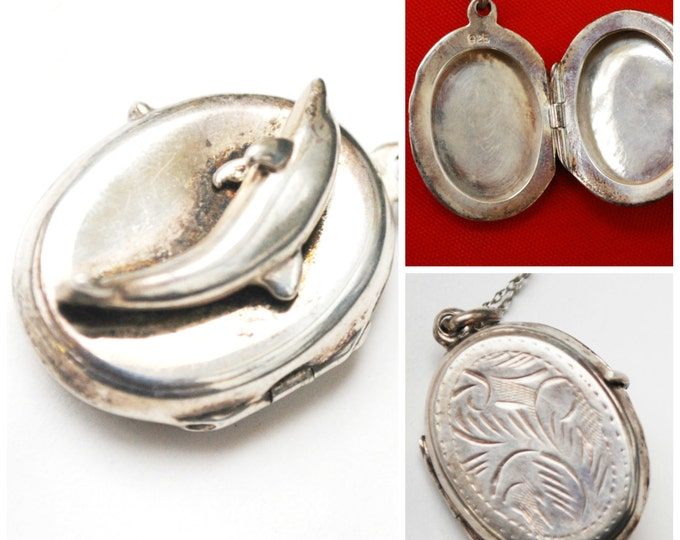 Sterling silver - Locket - Dolphin -Necklace -sea life -Italy 925 - Dolphin Necklace