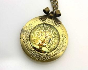 Necklace locket tree of life klimt