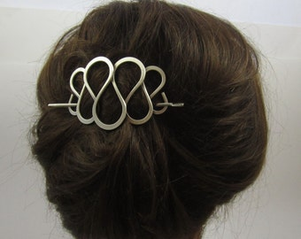 SILVER STICK BARRETTE-Curly Wire Design-Hair Sticks-Hair Jewelry-Big Hair Barrette