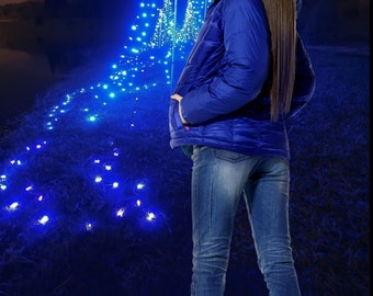 Blue Lighted Tree Christmas Backdrop SFTCR6