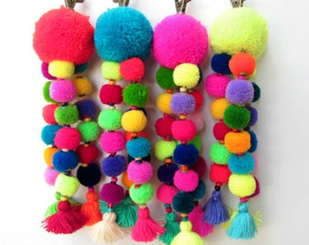 Tutu Pom Pom Keychain Trio of Neon Wool Mini Pom poms Bag Charm Rainbow Pom Zipper Pull BOHO Chic Bag Charm Gift for Women Pom Gift Ideas