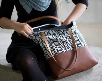Canvas leather tote bag with zipper, handmade shoulder bag, large, fabric, brown leather handbag