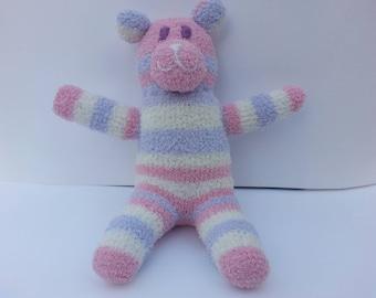 Fuzzy Sock Bear Pastel Pink Soft Plush Doll Handmade