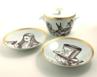 Altered Soup Serving Set Alice in Wonderland Tureen Lid Bowl Porcelain 2 Soup Plates Wedding Valentine Tea Party Hatter  Porcelain Vintage