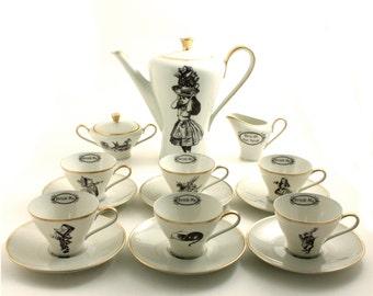 Alice Wedding Gift, Mad Tea Party, Alice in Wonderland, Porcelain Espresso Cup Teapot Creamer Sugar Pot, Hatter Hare, Unique One of a Kind