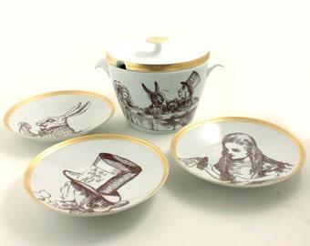 Altered Vintage Soup Serving Set Alice in Wonderland Porcelain Big Lid Tureen 3 Plates Tea Party Mad Here Hatter Rabbit  Bowl Lidded Carroll