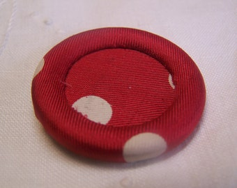 "Antique 1-1/2"" Red with White Polka Dots Silk Fabric Covered Button, Halo Style (no. 230)"