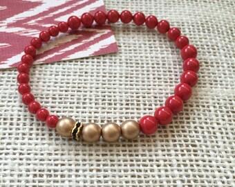 Red beaded stretch bracelet, scarlet, gold, beaded bracelet, swarovski crystal pearls, black gold accent bead, layering, asymmetric