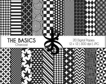Digital Scrapbook Papers-The Basics-Charcoal-Gray-White-Geometric-Basic Patterns-Backgrounds-Wallpaper-Printable-Instant Download Clip Art