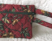 quilted zippered wristlet / travel bag / quilted bag Brown with green print