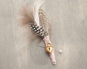 Rustic Feather and Vintage Lace Boutonniere with Heart Charm, Buttonhole , Corsage, Everlasting Keepsake