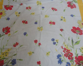 Vintage Cotton Summertime Tablecloth Loud Colored Floral Table Linen Fast Colors Table Cloth Red Poppies Blue Poppies Yellow Daisies