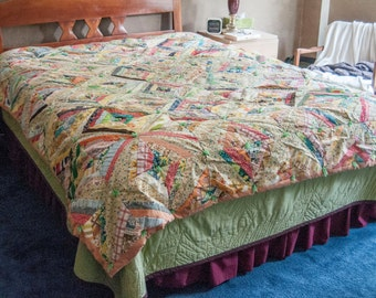 1960s or 1970s handmade quilt. Full size, clean, vivid colors. 90x77 inches