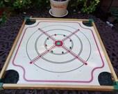 Vintage Wood Carrom Merdel Game Board-Ludington Michigan with Pool Cues/Sticks