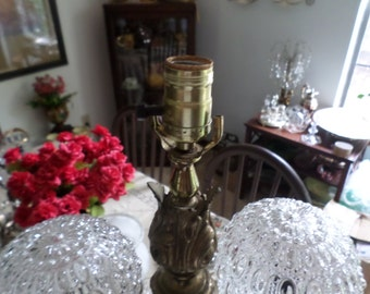 "Vintage Victorian Ornate Metal Lamp/Light with Two Glass Globes-Repurpose/Add Glass or Fabric-26"" Tall"