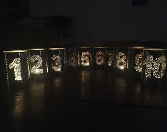 Set of 10 Upcycled Wedding Tin Can Table Numbers Lantern