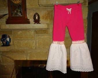 Little Girls Pink Pull-On Sweats with White Eylet Full Bells size 10-12