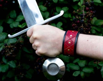 Larp Hero Cuff /Bracelet ,Red and Black leather