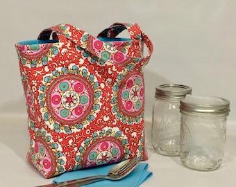 Mason jar carrier bag - Pint 2-jar Jars to Go - Amy Butler print mason canning jar lunch tote cozy