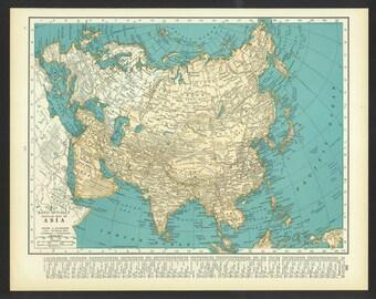 Vintage Map Asia Original 1937
