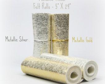 """Metallic Felt - Metallic Tinsel Wool Felt - Gold Felt or Silver Felt  - 5"""" X 29"""" - Metallic Felt Roll - Metallic Wool Felt Rolls"""