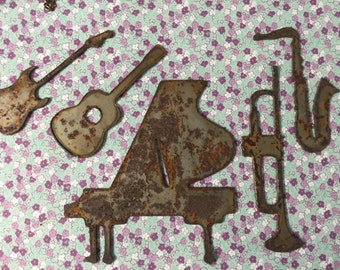 The Band Played On  Rusted Metal Musical Instruments Set Music Decor Symbols Rusty Objects Home Decor Wall Hangings Rusty Metal Instruments