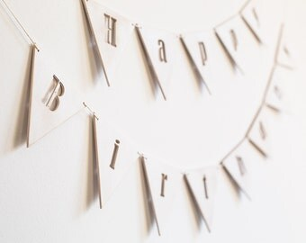 Happy Birthday banner  white wooden distressed garland  first birthday  personalized party decor