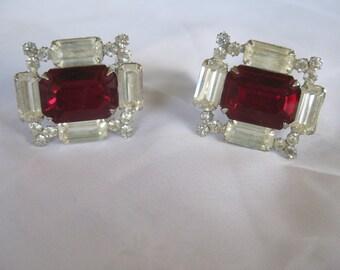 Vintage  Dazzling Red Clear  Rhinestone Clipon Boho Mod earrings Very good