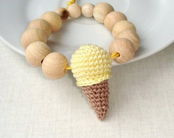 Ice cream baby teether, Teething ring toy,Wooden teether,Natural wood,Waldorf toy,Baby wooden teether,Choose your ice cream,Shower gift