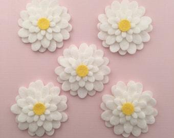 Wool Felt White Daisies