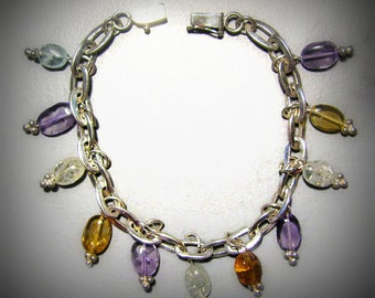 Reduced -- Vintage CHA-CHA Bracelet in Sterling Silver and Genuine Semi-Precious Stones -- Pastel Colors