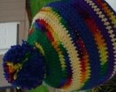 SCRAP homeless crochet beanie hat pom pom multi color yellow blue red